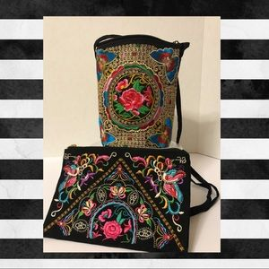 Embroidered Crossbody and Pouch Bundle